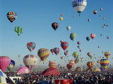 Colorful Hot Air Balloons, Albuquerque Balloon Fiesta, Albuquerque, New Mexico, USA Impresso fotogrfica
