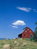 Red Barn with Rolled Hay Bales, Potlatch, Idaho, USA Photographic Print by Julie Eggers