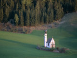 St. Giovanni Church and Green Fields, Villnoss, Val Di Funes, Trentino, Italy Photographic Print