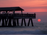 Sunrise at the Pier, Tybee Island, Georgia, USA Photographic Print by Joanne Wells