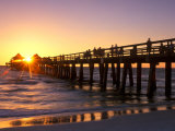 Naples Pier Sunset, Naples, Florida, USA Photographic Print by Rob Tilley