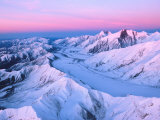 Alaska Range with Alpen Glow, Denali National Park, Alaska, USA Photographic Print by Dee Ann Pederson
