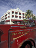 Fire Truck on Ocean Drive, South Beach, Miami, Florida, USA Reprodukcja zdjęcia autor Robin Hill