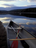 Canoe on a River Shore, Northern Forest, Maine, USA Fotografie-Druck von Jerry & Marcy Monkman