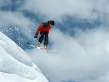 Snowboarder with Clouds Photographic Print