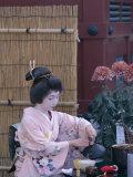 Apprentice Geisha (Maiko) Performing Tea Ceremony, Tokyo, Honshu, Japan Photographic Print