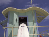 Surfboard at Lifeguard Station, South Beach, Miami, Florida, USA Photographic Print by Robin Hill