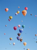 Colorful Hot Air Balloons in Sky, Albuquerque, New Mexico, USA Photographie