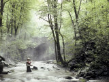 Fly Fisherman Near a Stone Bridge Photographic Print