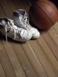 Pair of Boots with a Basketball Photographic Print