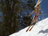 Bikini Clad Snow Skier Photographic Print