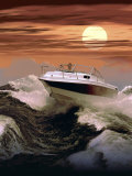 Boating at Sunset through Rough Water Photographic Print