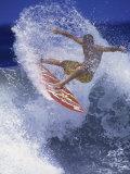 Surfer with Red Board Fotografisk trykk