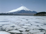 Frozen Lake, Lake Yamanaka, Mount Fuji, Honshu, Japan Photographic Print