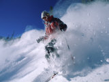 Skier with Snow Flying Up Photographic Print