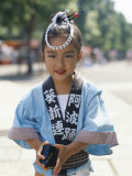 Young Girl, Child Dressed in Yukata, Traditional Dress, Kyoto, Honshu, Japan Photographie