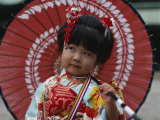 Girl Dressed in Kimono, Shichi-Go-San Festival (Festival for Three, Five, Seven Year Old Children) Photographic Print