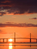 Sunrise Behind Sunshine Skyway Bridge, Florida, USA Photographic Print by Jerry & Marcy Monkman