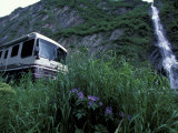 RV and Bridal Veil Falls in Keystone Canyon, Valdez, Alaska, USA Photographic Print by Paul Souders