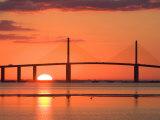 Sunrise Behind Sunshine Skyway Bridge, Florida, USA Fotodruck von Jerry & Marcy Monkman