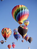 Colorful Hot Air Balloons in Sky, Albuquerque, New Mexico, USA Lámina fotográfica
