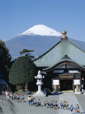 School Children and Temple, Mount Fuji, Honshu, Japan Photographic Print