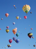 Colorful Hot Air Balloons in Sky, Albuquerque, New Mexico, USA Fotografie-Druck