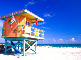 Life Guard Station, South Beach, Miami, Florida, USA Photographie par Terry Eggers