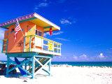 Life Guard Station, South Beach, Miami, Florida, USA Reproduction photographique par Terry Eggers