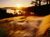 Waterfall at Sunrise in Eagle Creek Above Emerald Bay, Lake Tahoe, California, USA Photographic Print by Adam Jones