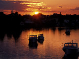 Sunset on Boats in Portsmouth Harbor, New Hampshire, USA Fotografie-Druck von Jerry & Marcy Monkman