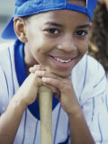 Close-up of a Boy From a Little League Baseball Team Photographie