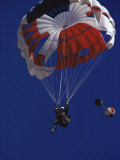 Skydiver with Red, White and Blue Parachute Photographic Print