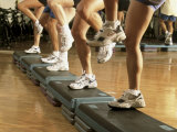Low Section View of a Group of People Exercising in a Step Aerobics Class Photographic Print