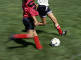 High Angle View of Two People Playing Soccer Photographic Print