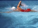 Swimmer in Red Suit Photographic Print