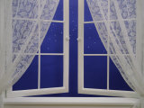 Open Window with Lace Curtains and Simulated Stars Beyond Photographic Print
