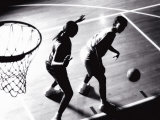 High Angle View of Two Women Playing Basketball Photographic Print