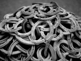 Monochromatic Image of a Pile of Horseshoes Photographic Print