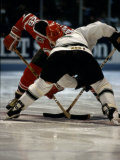 Hockey Players in Head to Head Competition Photographic Print