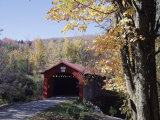 Covered Bridge in Fall Photographic Print