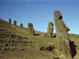 Moai Rano Raraku, Easter Island, Chile Photographic Print