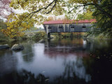 Tranquil Scene with Covered Bridge Photographic Print