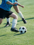 Two Teenagers Playing Soccer Photographic Print