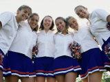 Portrait of Teenage Girls in Uniform with Pom-Poms Photographic Print