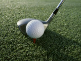 Close-up of a Golf Ball and a Golf Club Photographic Print