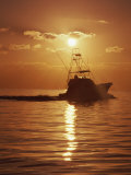 Fishing Boat with Sunset Sky Photographic Print