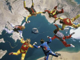 Skydivers in a Circular Formation Photographic Print