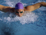 Swimmer in Goggles and Purple Swim Cap Photographic Print