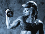 Female Bodybuilder with Dumbbell Fotografie-Druck